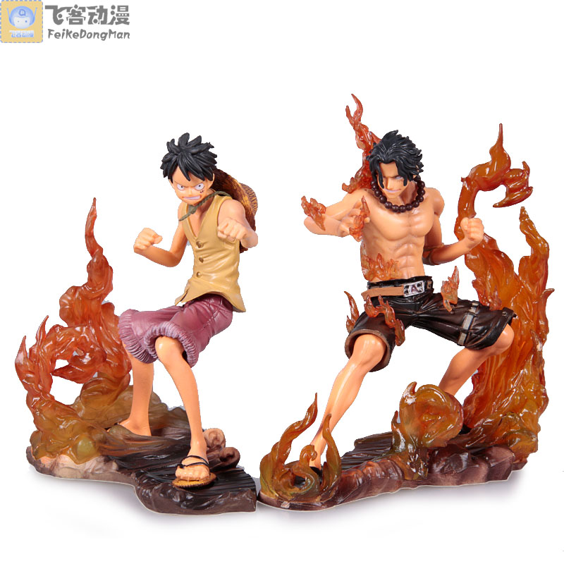 Free Shipping Japanese Anime One Piece DX Luffy and Ace Action Figures set of 2pcs PVC 14CM 2pcs lot 15 cm detective conan japanese anime action figures scale models toy free shipping gs032