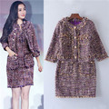 famous brand short jackets and sleeve dress two sets for women vintage woven tinsel tweed coat dress suits tassel edging cc