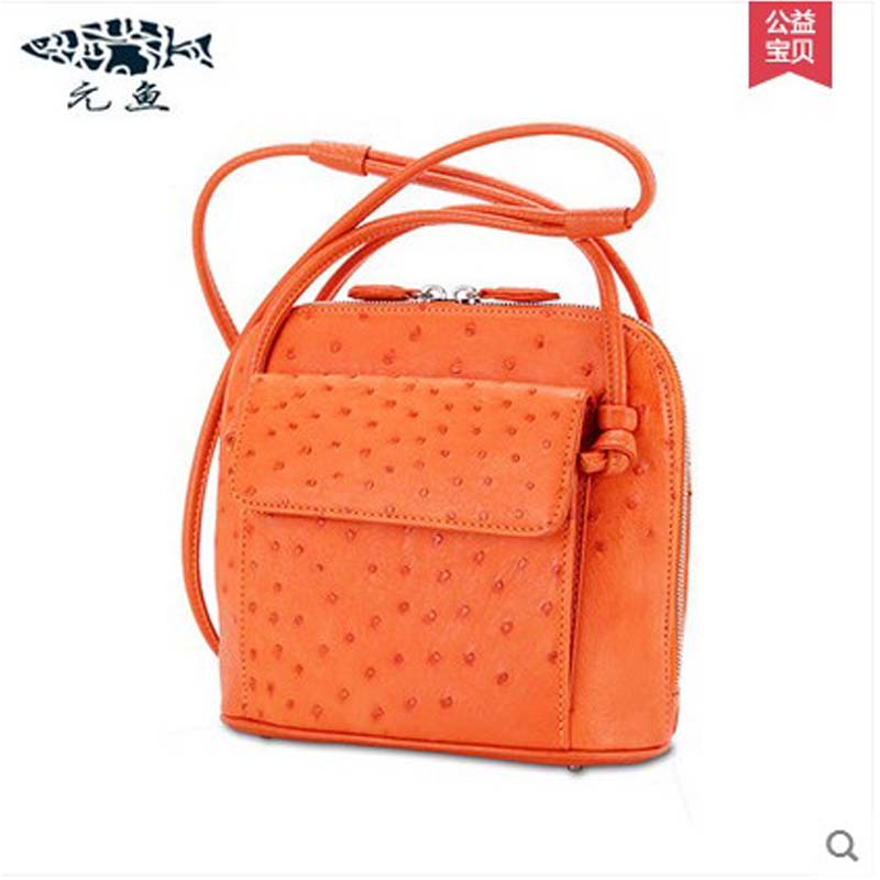 yuanyu 2017 new hot free shipping ostrich leather handbag single shoulder bag fashion leisure contracted small women package free shipping embossing letters package europe fashion genuine leather single shoulder hand his female bag