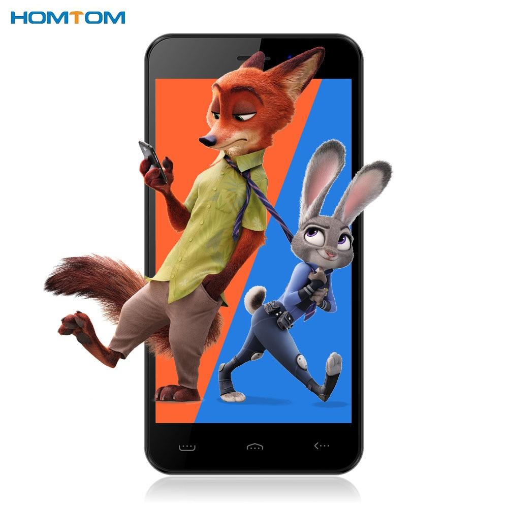 Original Homtom HT16 Android 6,0 teléfono móvil 5,0 ''HD MTK6580 Quad Core 1,3 GHz 1 GB + 8 GB 3G Smartphone 8MP cámara móvil GPS