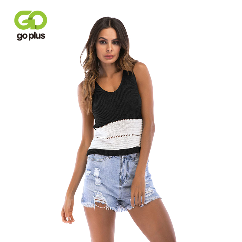 GOPLUS Fashion Hollow out Patchwork Thin Knitted Tank Top Women Sexy V neck Party Vest Ladies 2019 Summer Crop Slim Camis Female