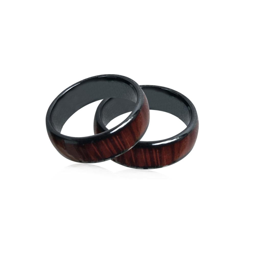 125KHZ or 13.56MHZ RFID Ceramics Wood color Smart Finger Ring Wear for Men or Women