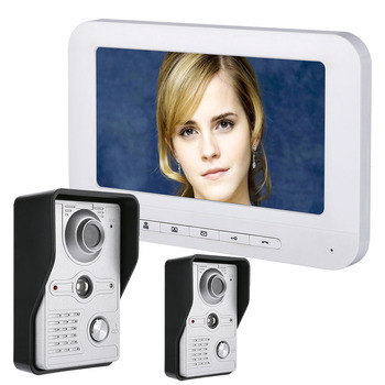 MOUNTAINONE 7 Inch LCD Video Door Phone Doorbell Intercom Kit 2-camera 1-monitor Night Vision with IR-CUT HD 700TVL Camera