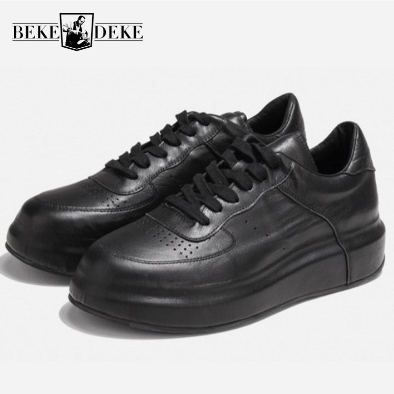 Classic White Men Genuine Leather Platform Shoes Creeper Brand Luxury Joggers Sneakers Trainer Lace Up High Street Hip Hop Shoes 2018 spring men harajuku genuine leather sneakers thick platform hip hop street dancing footwear man trainer lace up tenis shoes