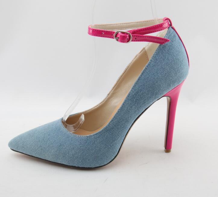 Denim Blue High Heel Shoes Sexy Pointed toe Ankle Strap Woman Pumps 2018 Newest Pink Stiletto Heel Dress Shoes Real Photo