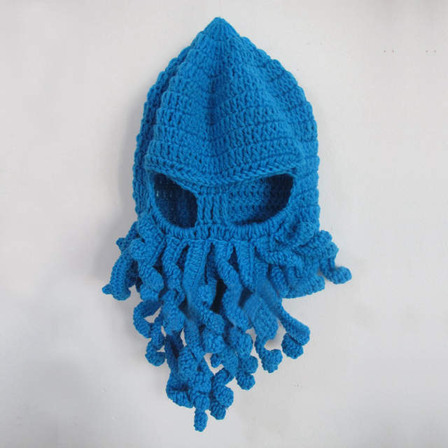 placeholder Octopus balaclavas Winter Warm Knitted crochet braids ski Face  Mask Hat squid Cap women man Funny ee5954b8b817