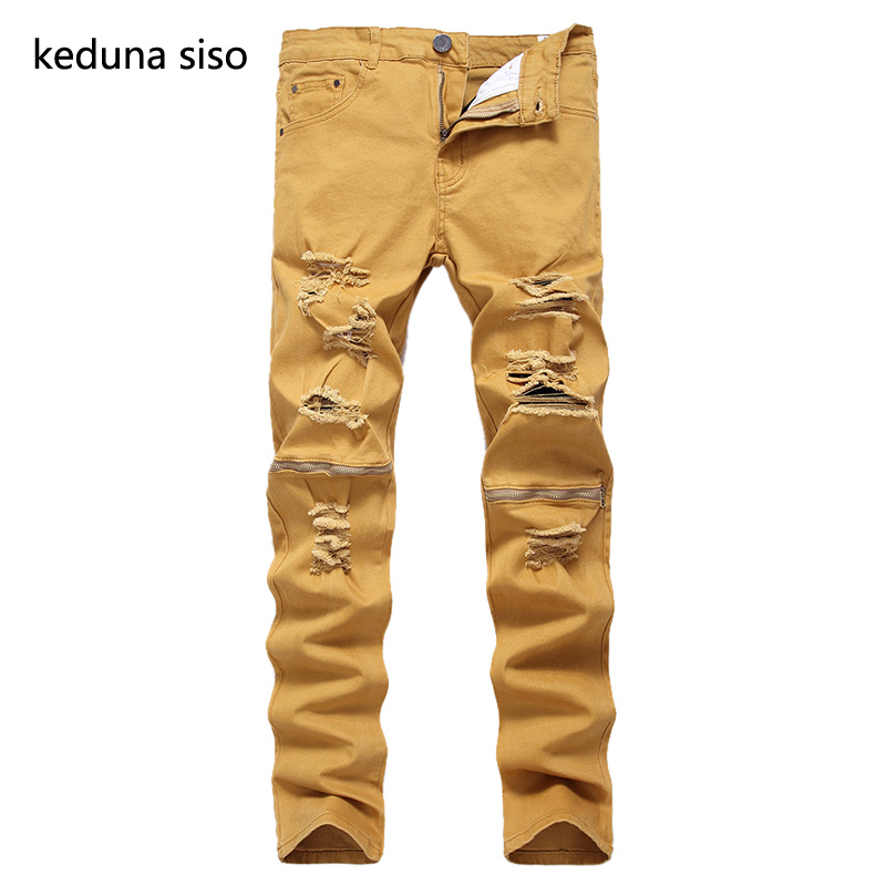 2017 New Fashion Khaki Color Jeans Men Slim Knee zipper Designer Soft Denim Jeans homme Wholesale Ripped Jeans For Men