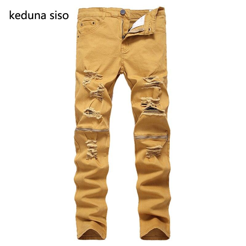 2017 New Fashion Khaki Color Jeans Men Slim Knee zipper Designer Soft Denim Jeans homme Wholesale Ripped Jeans For Men