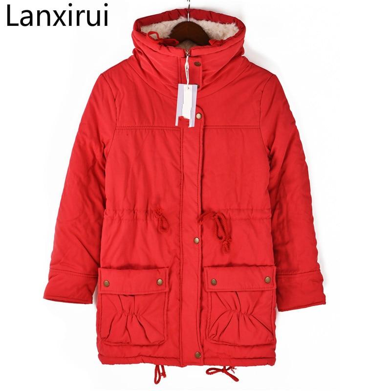 2018 Winter Women Coat Ladies Wadded Warm Cotton Parka Slim Outwear Long Wadded Jacket Thick Hooded Cotton Jacket Cc018
