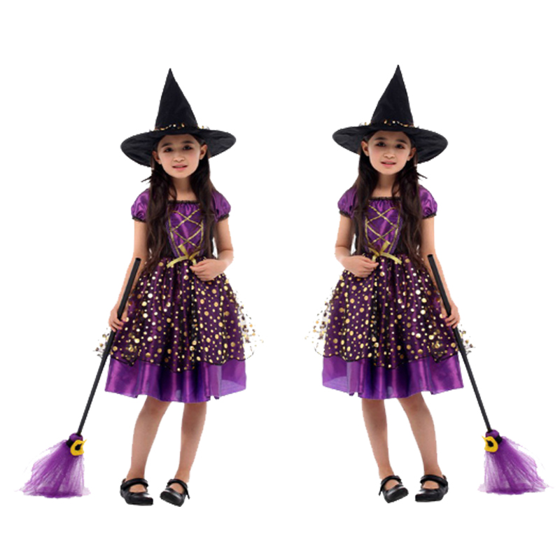 HOT!Halloween Cosplay costume for Children witch Costume fancy dress Hat kids girl Fantasia Infantil Carnival Party christmas