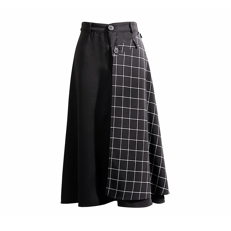 2019 Fashion High Waist Long Skirts Womens Summer Patchwork Plaid Skirt harajuku Plus Size A-line Midi Skirt faldas jupe femme