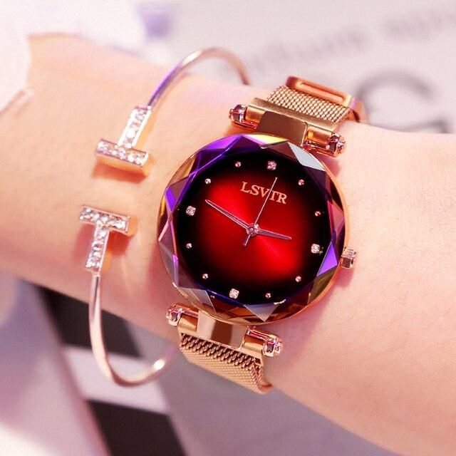 Luxury Rose Gold Women Watches Fashion Diamond Ladies Starry Sky Magnet Watch Wa