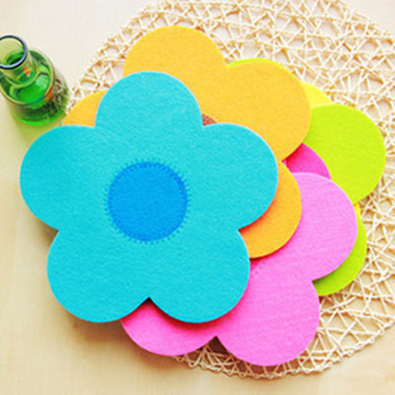 7pcs colorful felt cup mats flower type non-woven placemats mix colors