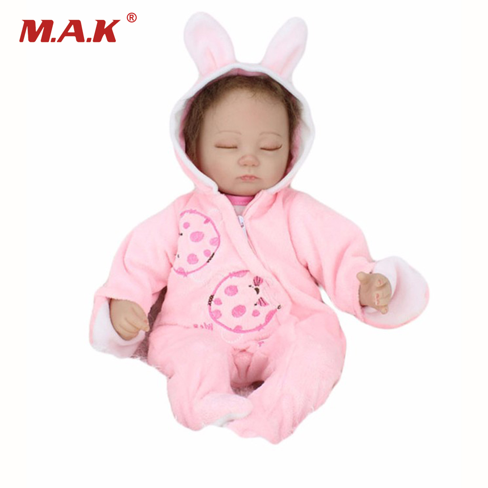 18 Sleeping Short Hair Girl Baby Silicone Vinyl Reborn Newborn Handmade Dolls With Pink Bunny Pajamas Kids Birthday Gifts Toys