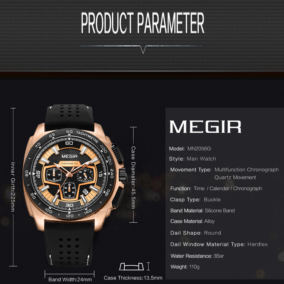 MEGIR Men's Casual Watches Silicone Band Waterproof Military Chronograph Sport Watch Army Quartz Wristwatches Relogio Masculino