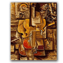 Picasso abstract oil painting,colorful violin digital painting by numbers with kits on canvas draw coloring pictures(China)
