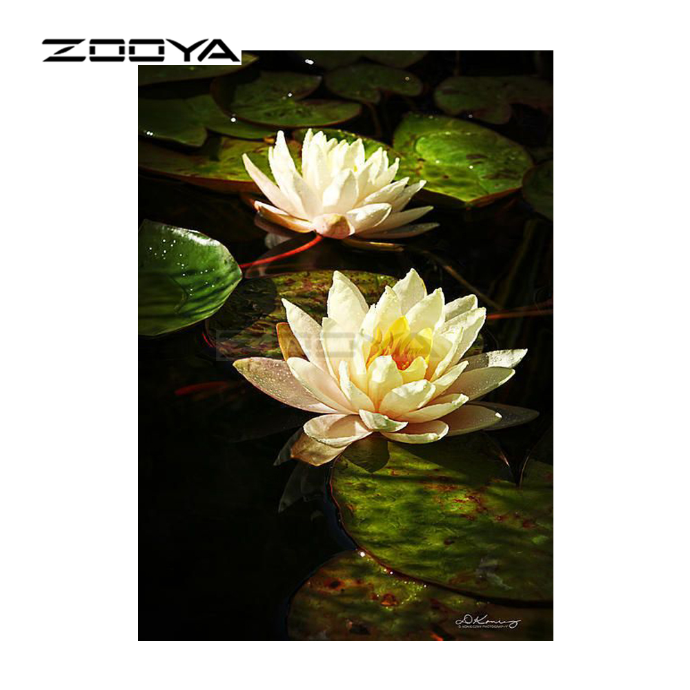 5d Diy Diamond Painting Lotus In The Pool Full Square Diamond Embroidery Flowers Mosaic Pictures Of Rhinestones Decor Home Home & Garden