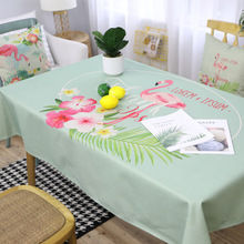 Flamingo Printed Tablecloth Cotton Linen Tablecloth Fabric Rectangular Rectangular Cloth Coffee Table Cloth цена 2017