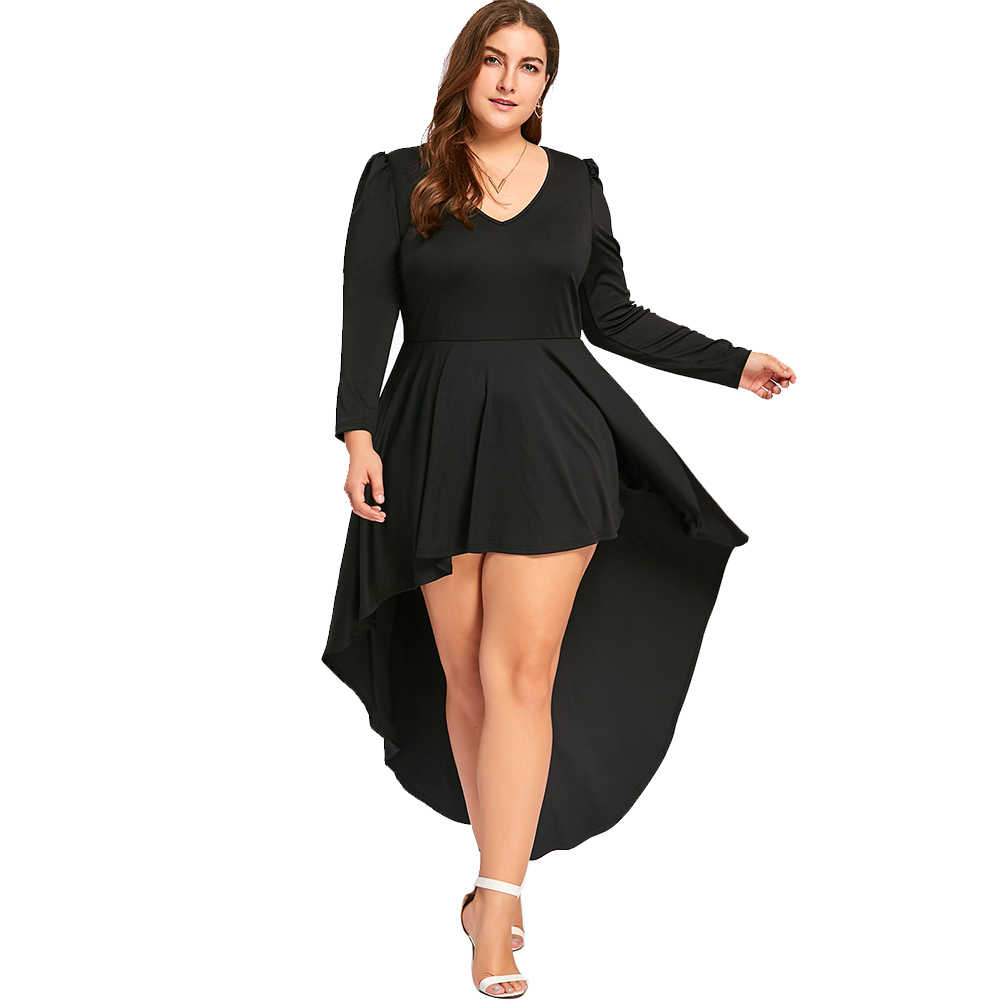 Detail Feedback Questions about Gamiss Casual Plus Size V Neck Solid Dress  High Low Hem Long Sleeve Maxi Dress Fashion Autumn Party Dress Vestidos  Large 5XL ... 5015282b7e92