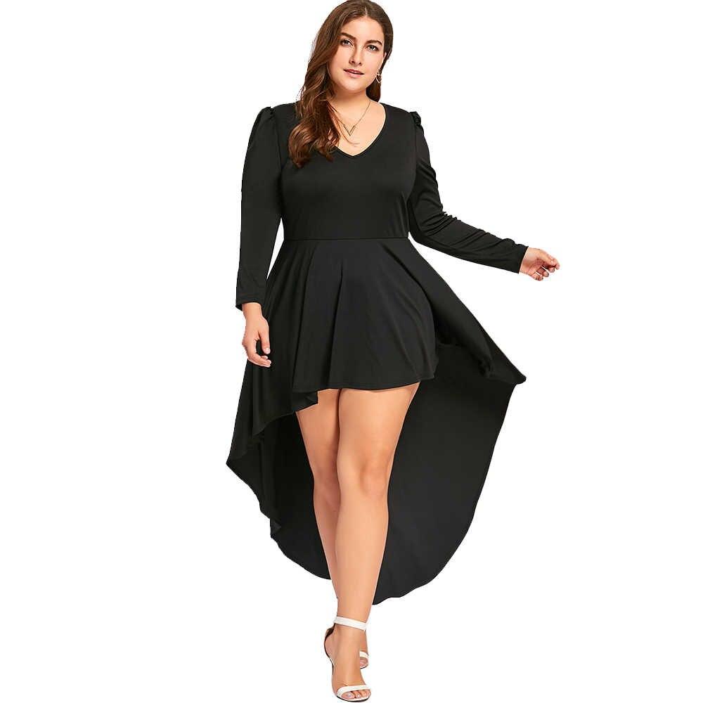 3b409ed181add1c Gamiss повседневное плюс размеры V средства ухода за кожей Шеи одноцветное  платье Высокая Низкая подол с