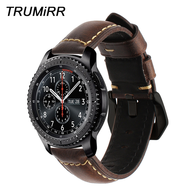 Italy Genuine Oil Leather Watchband 22mm +Tool for Samsung Gear S3 Classic Front