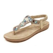New arrival flat sandals summer style flip flops womens sandals Rhinestones beach shoes comfortable  sandals