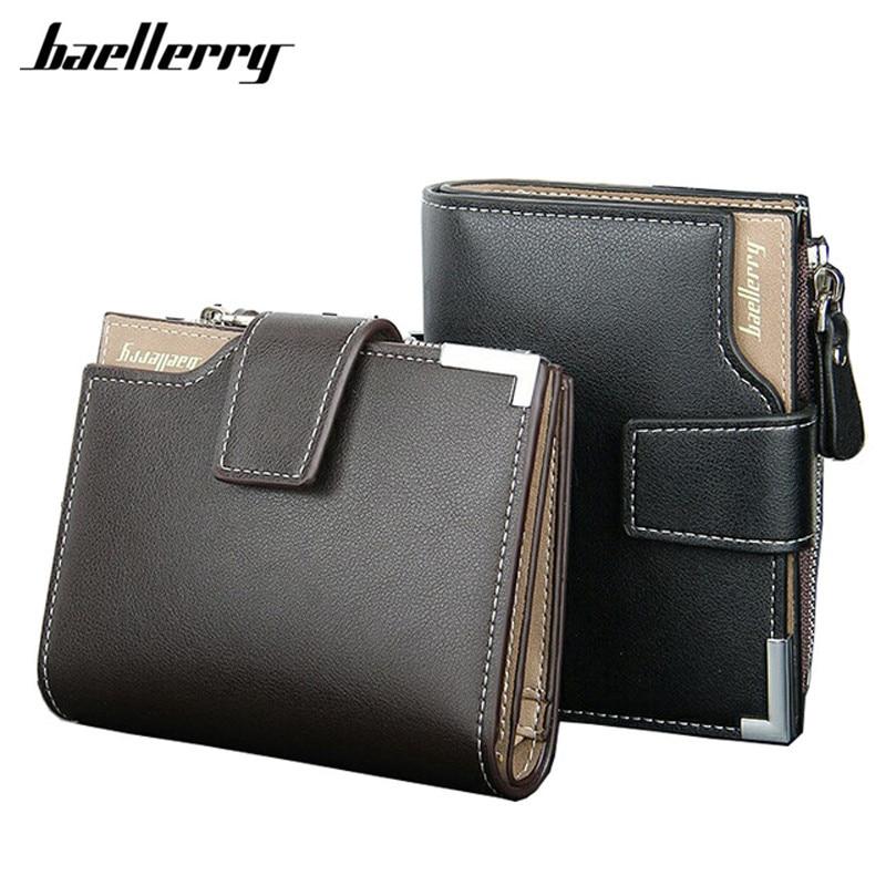 새로운 2017 짧은 지갑 Baellerry 정품 가죽 + PU 남성 지갑 Bifold 지갑 남성 카드 홀더 동전 지갑 지퍼와 주머니