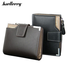 New 2017 Short Wallets Baellerry Genuine Leather+PU Men Wallets Bifold Wallet Men Card Holder Coin Purse Pockets With Zipper