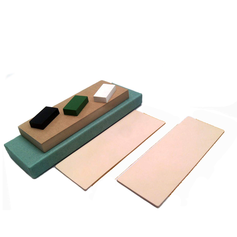 Knife sharpener Kit 2 Vegetable tanned Leather Honing Strops +wood block+3*1oz. Brown,Green,white Sharpening Polishing Compounds