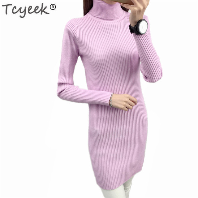 6f0068c50fa Tcyeek Winter Turtleneck Pullover Korean Fashion Autumn Long Sweater Women  Ladies Clothes 2018 Spring Tops Sueter Mujer LWL844