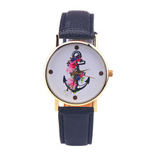 Cheap Product Watches Women Flower Anchor Printed PU Leather Band Analog Quartz Vogue Wrist Watches Hour Clock 2017 Hot Sale