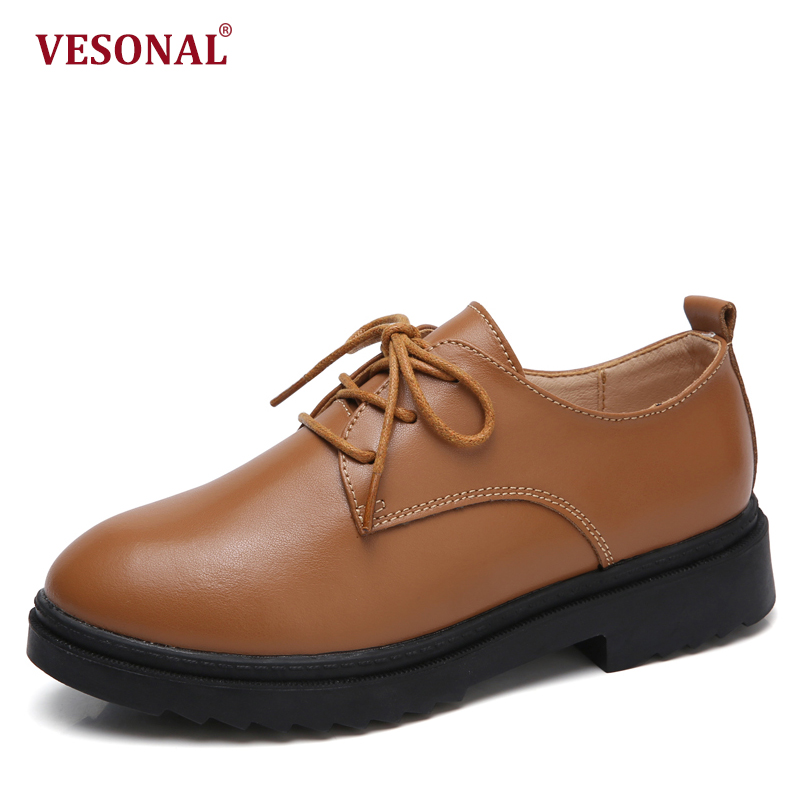 VESONAL Brand Fashion Women Shoes Casual Genuine Leather Casual Ladies Oxford Thick Sole Platform Woman Sneakers Female Footwear vesonal brand faux fur women shoes flats 2017 winter warm velvet female fashion ladies woman sneakers casual footwear tsj 189