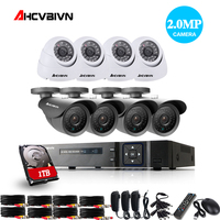 1080P CCTV System 8CH AHD DVR 1080P 2.0MP IR Weatherproof Outdoor Video Surveillance Home Security Camera System 8CH DVR Kit 1TB