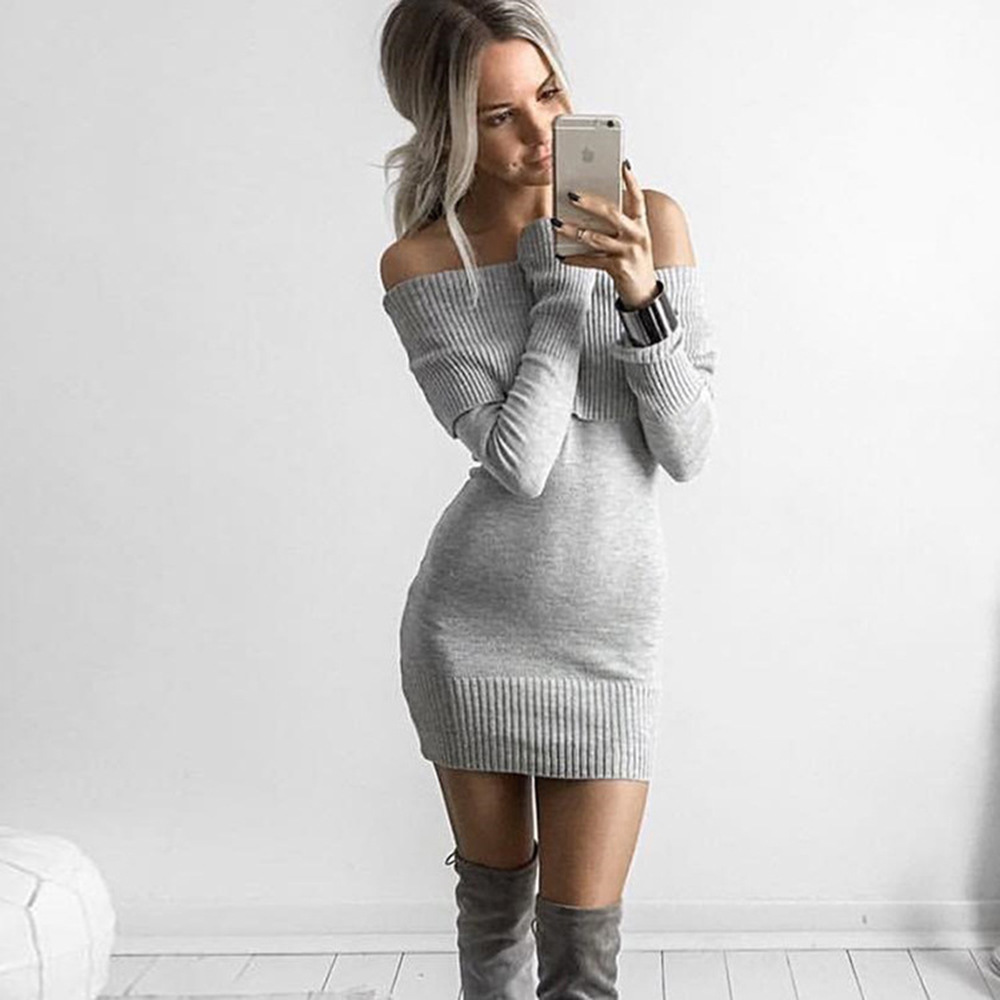 Fashion Long Sleeve Off Shoulder Slash Neck Sexy Club Women Dress Slim Bodycon Knitted Sweater Short Party Night Dresses choker neck ruffle bodycon dress short club dresses