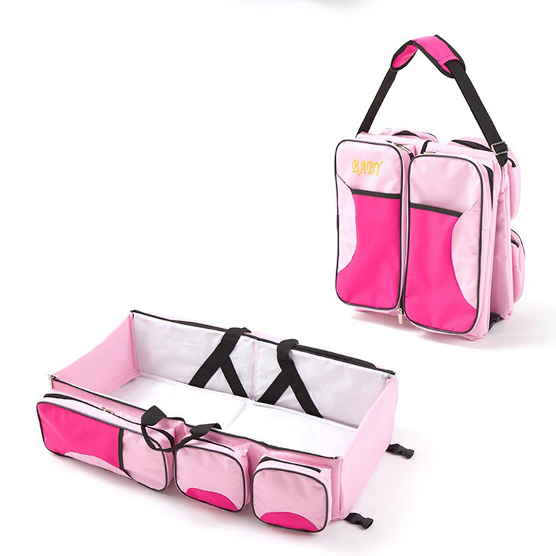 Large Capacity Multifunctional Portable Travel Cradle Pouch Nappy Bag Carrycot Diaper Bag Travel Bassinet Changing Bag Bed