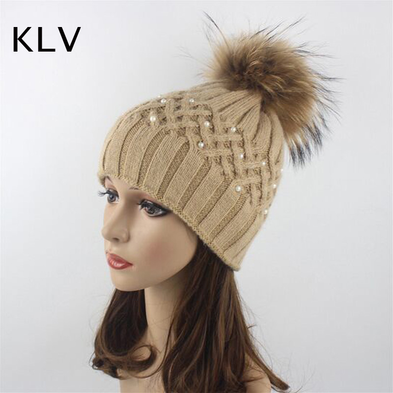 2017 Pearl Natural Raccoon Fur Women's Winter Hats Girls Knitted Wool Rabbit Caps Female Headgear Pompom   Skullies     Beanies