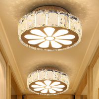 Round LED Crystal Ceiling Lamp Corridor Aisle Lamp Vestibule Lobby Balcony Bedroom Bedside Lights Embedded Cylinder