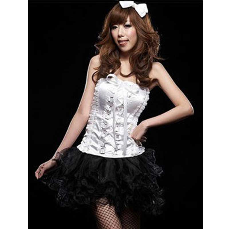 Sexy New Korean Style White Black Sleeveless Strapless Backless Pleated Ruffled Lace -1012