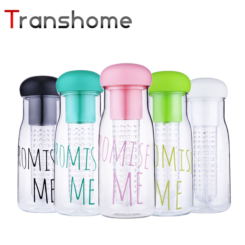 Transhome New Fruit Infuser Water Bottle Korea Style Pormise Me Leak Proof Plastic Lemon Juice Bottles With Tea Infuser 750ML