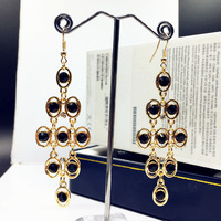 New Arrival Women Jewelry Vintage Rhombus Drop Earrings Simulated Pearl Decor Gold Plated Quality Women Chandelier
