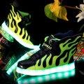 Горячие 2016 Детей Shoes with Light Up USB Зарядки Мода пламя Крылья Светящиеся Светящиеся Детей LED Shoes Мальчики Спортивная кроссовки