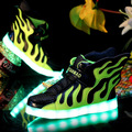 Hot 2016 Children Shoes with Light Up USB Charging Fashion Flame Wings Luminous Glowing Kids LED Shoes Boys Girls Sport Sneakers