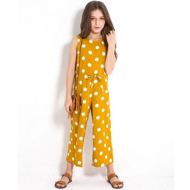 a8675828a033 2018 Summer Girls Jumpsuit Polka Dot Bib Pants Summer Nine Pants Sleeveless  Fashion Style Teens Jumpsuits Children Outfits