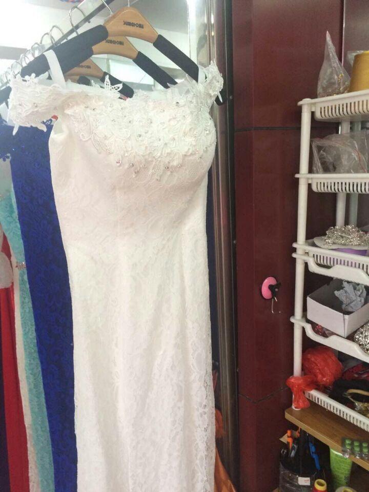 Robe de soiree 2019 rød bukett kjole av skulder fishtail Lace Up - Spesielle anledninger kjoler - Bilde 6