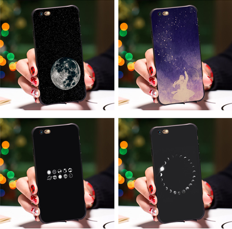 Women Smmna Cute Cartoon Wishing Bottle Planet Moon Phone Case For Iphone 8 7 6 6s Plus 5s Se X Fashion Starry Sky Cases Back Cover Suitable For Men And Children
