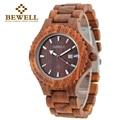 Bewell madera reloj hombre relojes elegantes para hombres simples reloj de madera caja de regalo de papel de lujo masculino relojes 023a
