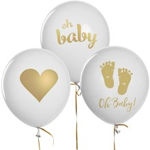 12pcs Baby Shower Decor Gender Reveal Party Pregnancy Birthday party Gold Foot Heart oh baby Printed Light Pink Blue Balloons