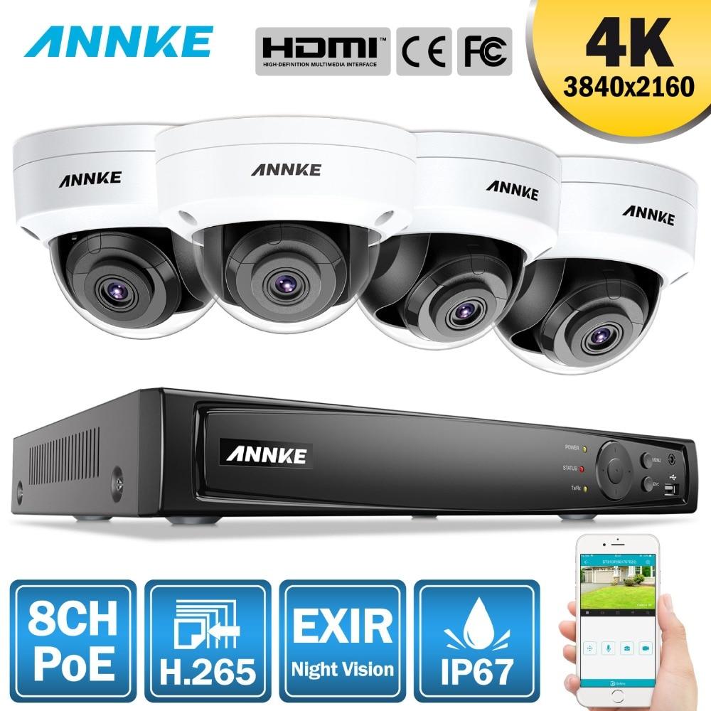 ANNKE 8CH 4 K Ultra HD POE sieci System bezpieczeństwa wideo 8MP H.265 NVR z 4X8 MP 30 m EXIR Night Vision odporne na warunki atmosferyczne kamera IP