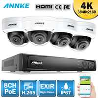 ANNKE 8CH 4K Ultra HD POE Network Video Security System 8MP H.265 NVR With 4X 8MP 30m EXIR Night Vision Weatherproof IP Camera