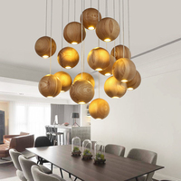Newly Pastoral Style Wooden Pendant Light chinese japanese wooden suspension lamp home/bar/hotel lighting engineering